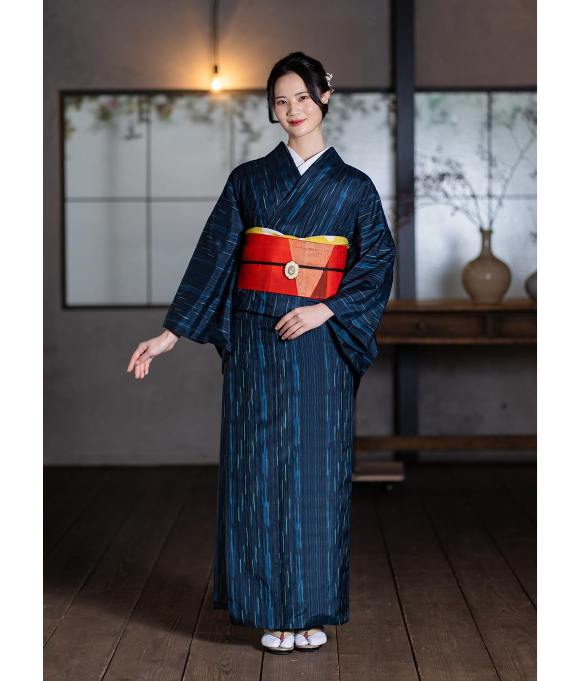 正絹小紋・濃紺色 縞模様 紬