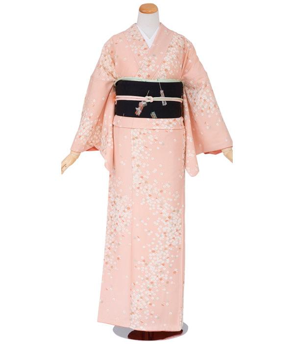 正絹小紋・ピンク色 小花と楓