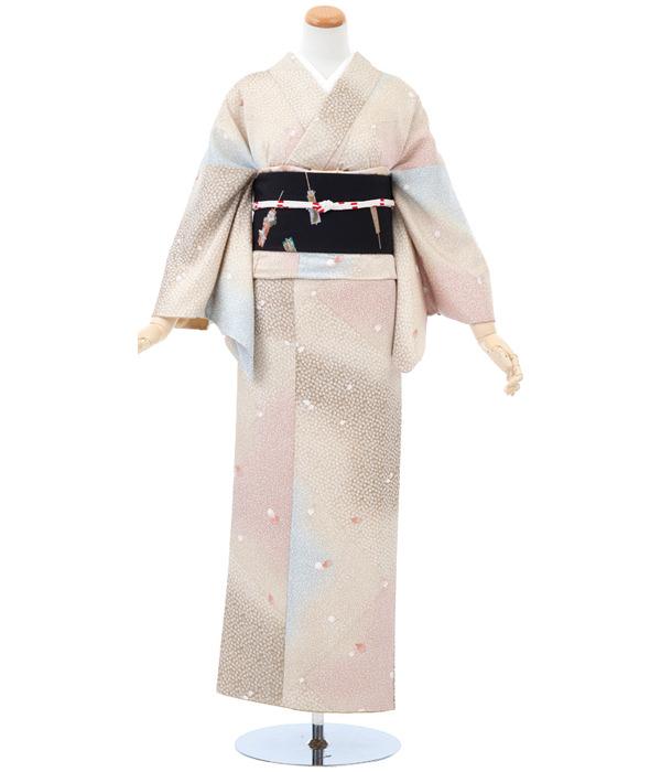 正絹小紋・ピンク色 多色ぼかしに桜づくし