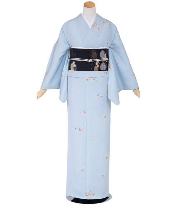 正絹小紋・淡いブルー 四季の草花